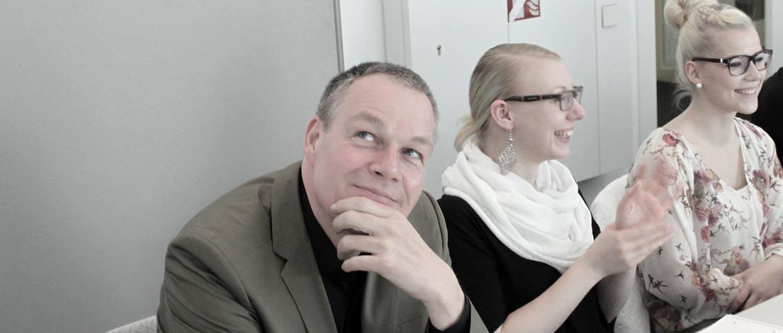 Egbert Becker (Roman Klis Design GmbH, Herrenberg), Elisa Wilke (Agentur VOLLES PROGRAMM OHG, Ludwigsburg) und Melanie Strobl (Aaksis Werbeagentur, Ulm).