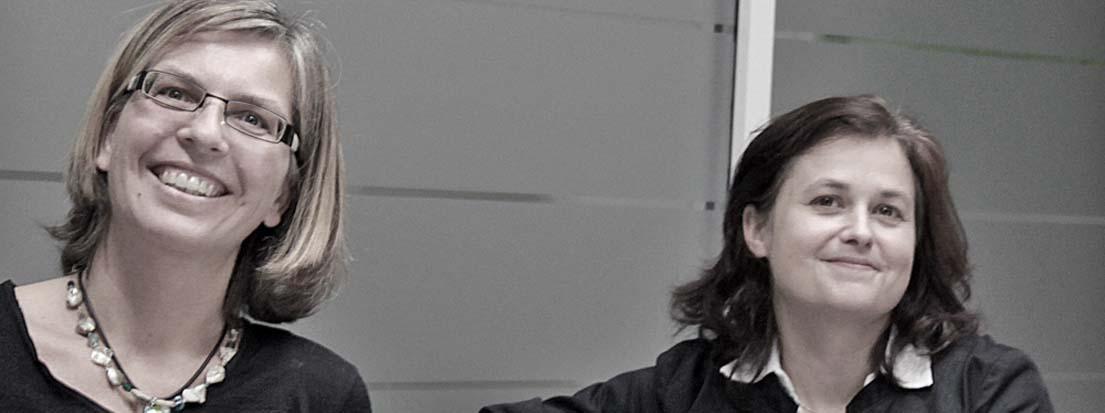 Helga van Veen (AGD), Agentur Freiraum, Regensburg und Tina Fritzsche (AGD), Grafikdesignerin, Garmisch-Partenkirchen.