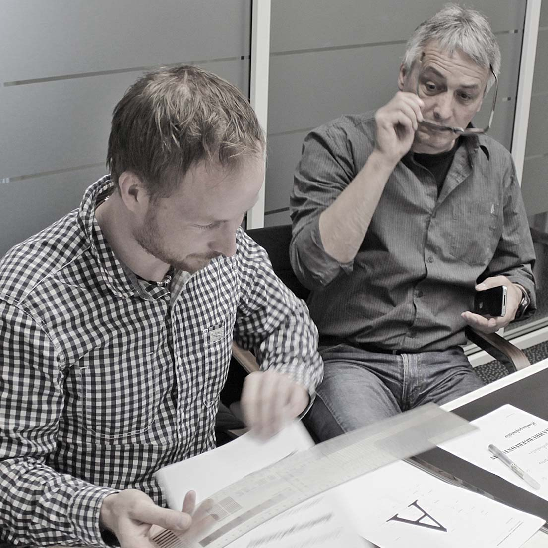Patrick Bahr (Columbus Interactive GmbH, Ravensburg) und Hubert Wehrs (g24 | wehrs graphik design werbung, München).