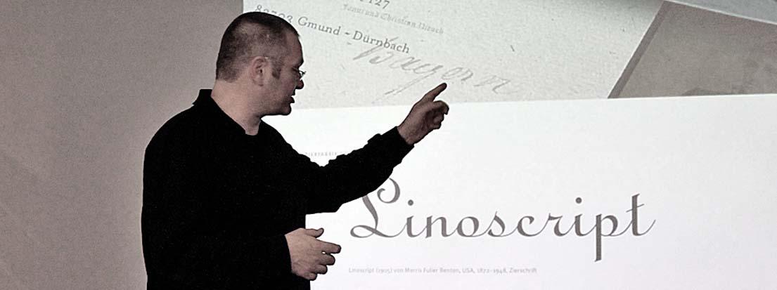 Wolfgang Beinert (AGD), Atelier Beinert, Berlin, spricht über die Linoscript von Morris Fuler Benton.