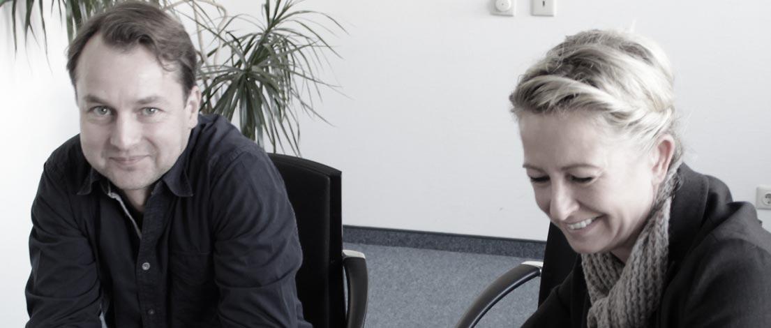 Pascal Porath, AGD (STUDIO PORATH, Aachen) und Peggy Stein (steinzeit-mediendesign, Düsseldorf), AGD.