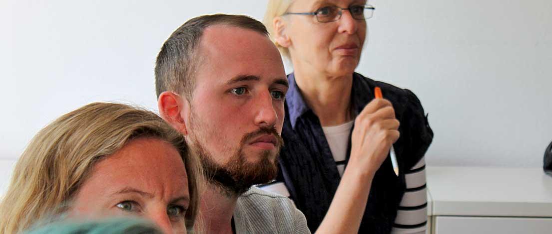 Kai Schwenzfeuer (Hochschule Bremerhaven). Typoakademie, Seminar »Typografie im Grafik- und Kommunikationsdesign« am 8. Juni 2015 im Literaturhaus Hamburg. Foto: Wolfgang Beinert, Berlin.