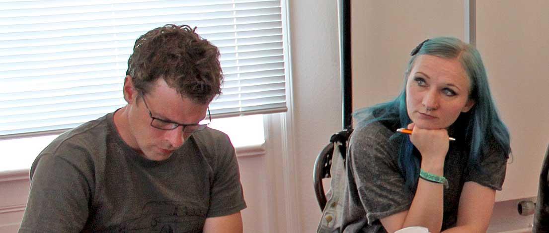 Tobias Niering (marktrausch GmbH, Kiel) und Janet Schendel (Agentur Frau Silberfisch, Nienburg). Typoakademie, Seminar »Typografie im Grafik- und Kommunikationsdesign« am 8. Juni 2015 im Literaturhaus Hamburg. Foto: Wolfgang Beinert, Berlin.