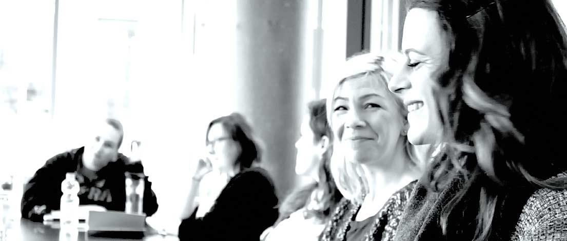 Sandra Brettschneider (Kick-Media, Köln) und Frauke Plesken (DMKZWO, Köln). Typoakademie, Seminar »Typografie im Grafik- und Kommunikationsdesign« am 27. April 2016 bei Startplatz, Mediapark Köln. Foto: Wolfgang Beinert, Berlin.